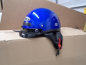 Scooter helmet 1/2 with visor blue
