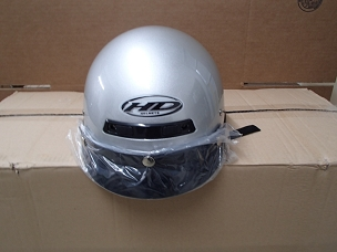 Scooter helmet 1/2 with visor silver