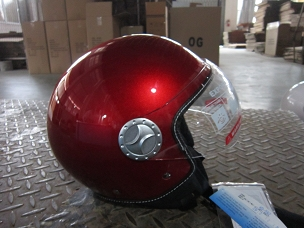 Scooter helmet 3/4 with windscreen red