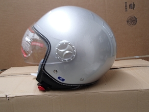 Scooter helmet 3/4 with windscreen silver